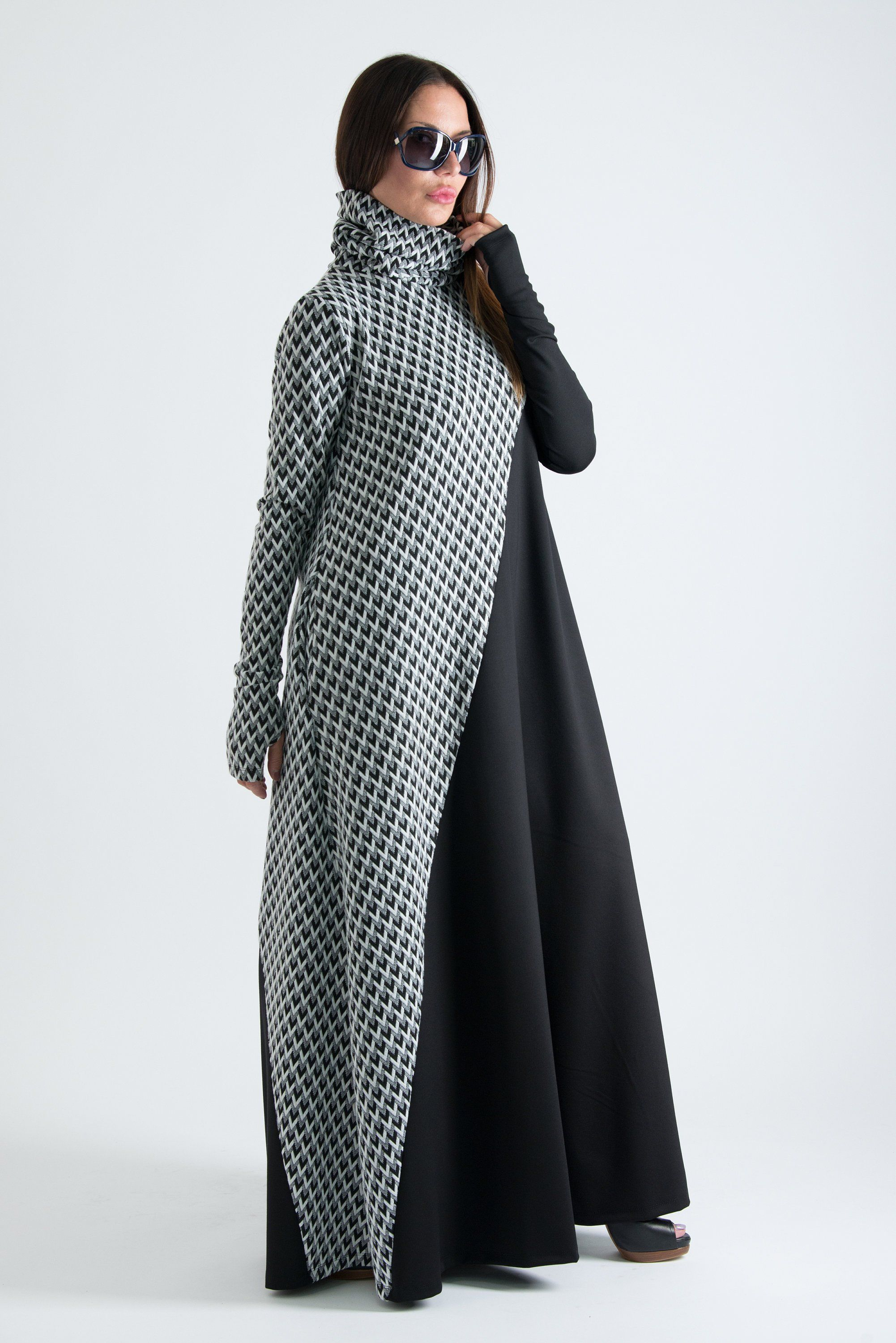 Autumn winter turtleneck maxi dress plus size dress long women