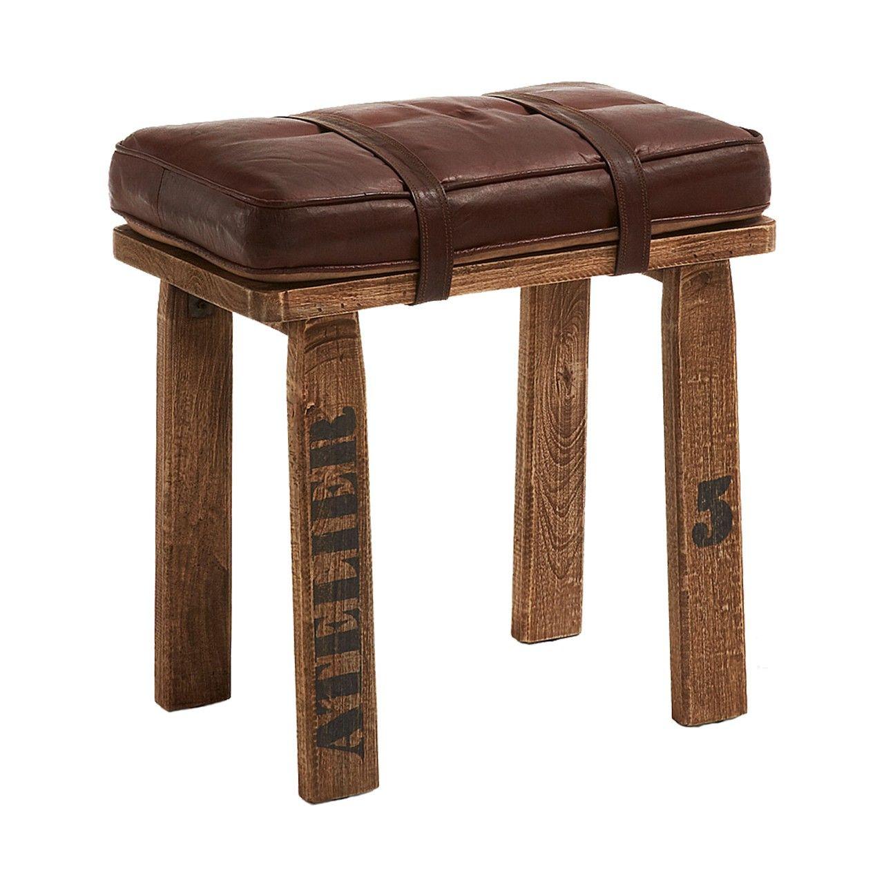 Banqueta en #madera con asiento en #cuero color marrón | banqueta ...