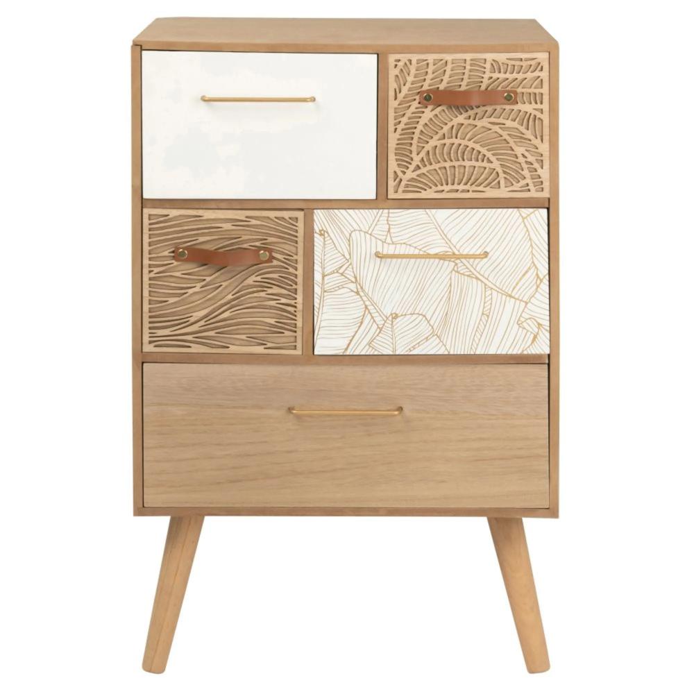 Small 5 Drawer Storage Unit With Print Foliage Maisons Du Monde En 2020 Petit Meuble Rangement Meuble Rangement Petit Meuble