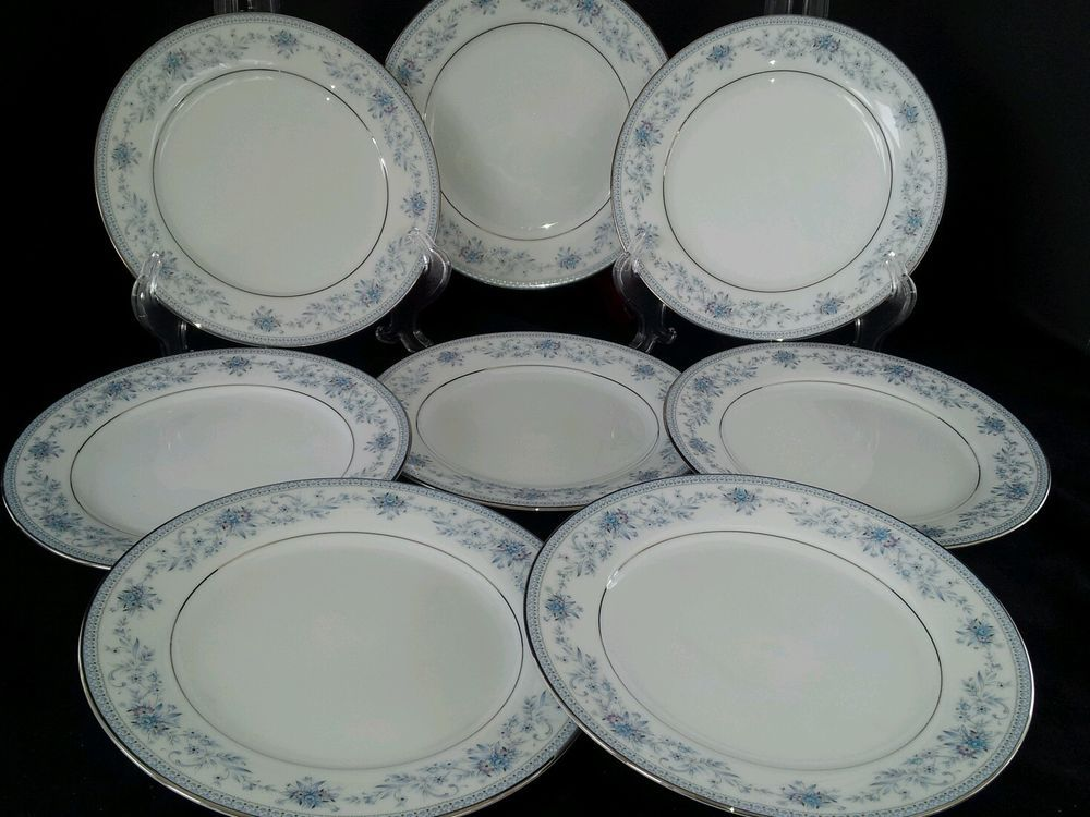 Set Of 8 Noritake Blue Hill 2482 Contemporary Fine China Salad
