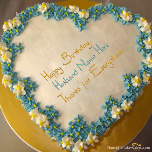 Write name on Heart Birthday Cake For Husband Happy Birthday