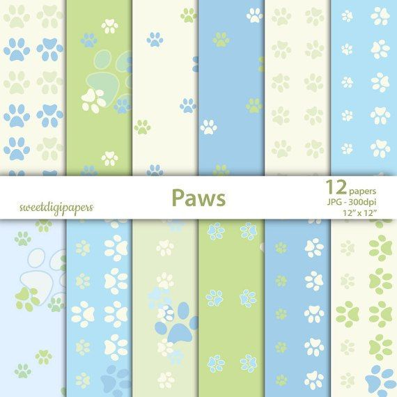 Green Paws Digital Paper Baby Scrapbook Paper Blue Paws Background