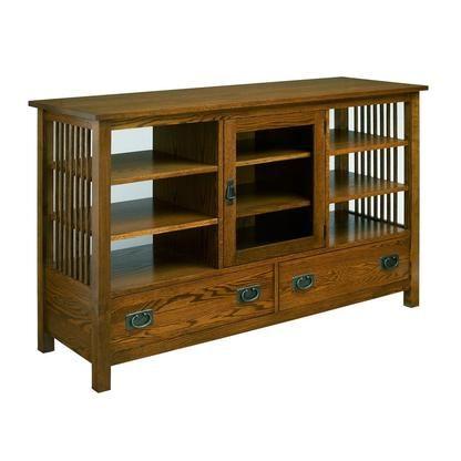 A.A. Laun Furniture Workbench Classics Entertainment Console (Golden Oak)