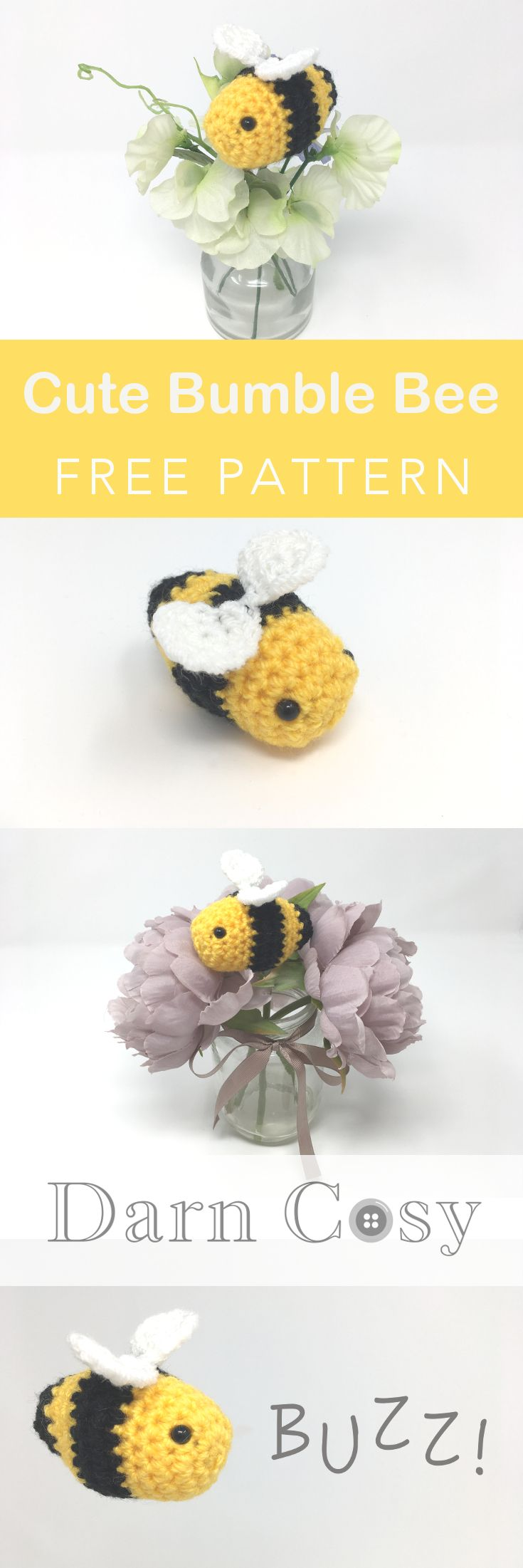 Cute Bumble Bee Amigurumi - Free Crochet Pattern! | Pinterest ...