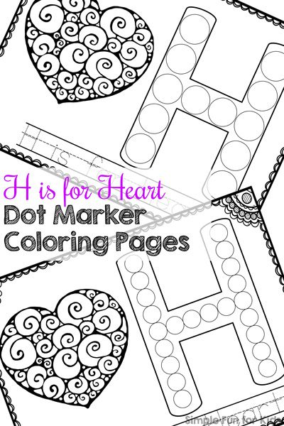 H Is For Heart Dot Marker Coloring Pages Valentines Hearts