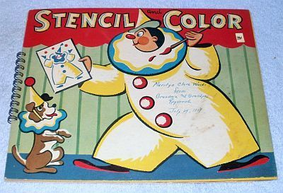 Vintage Child's Activity Stencil, and Color Book 1957