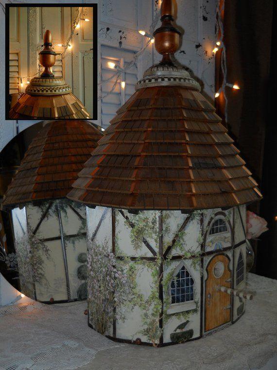 Best Hand Painted Hand Built Tudor Birdhouse Ooak Cedar 400 x 300