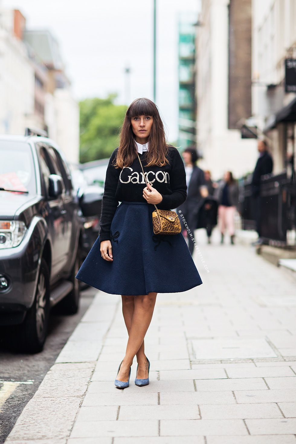 full skirt. sweater.