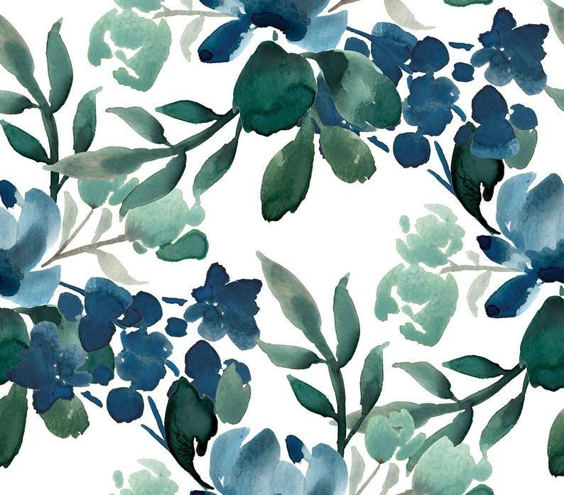 Flora Deep Greens Floral Removable Wallpaper Vintage Peel Etsy In 2020 Green Floral Wallpaper Floral Wallpaper Green Wallpaper