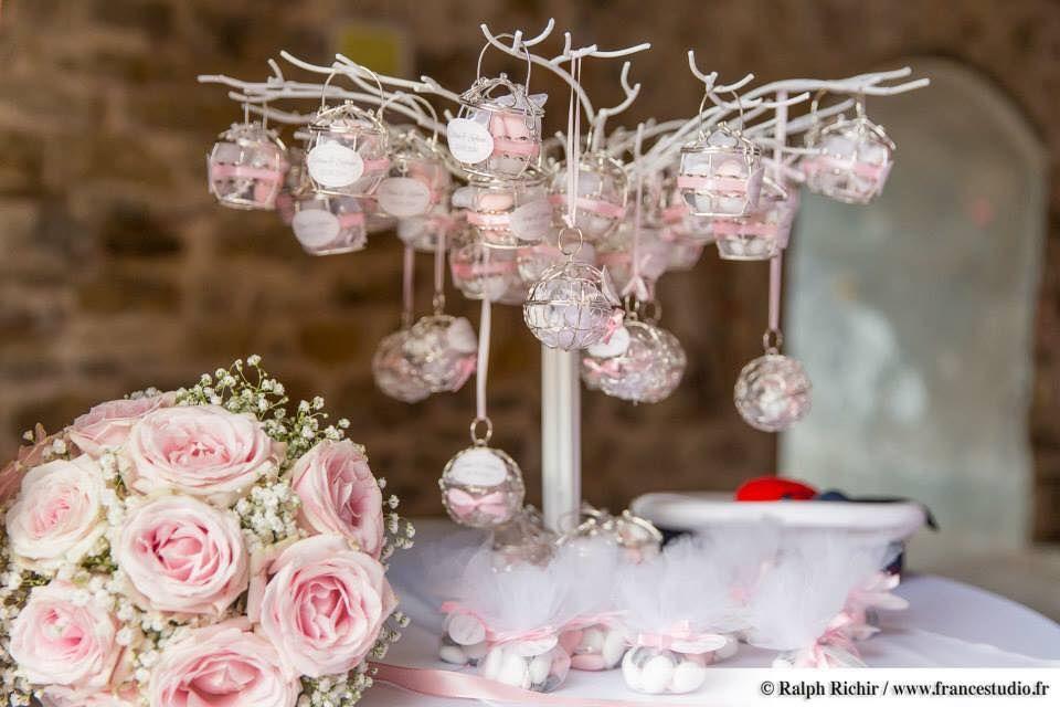 arbre drag es avec petites cages argent pour mariage th me rose poudr et gris par sweety. Black Bedroom Furniture Sets. Home Design Ideas