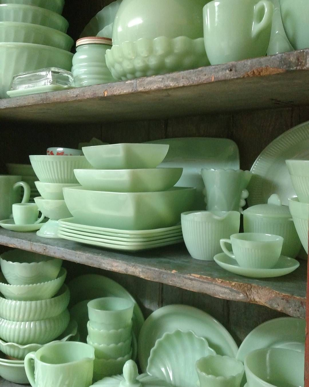 "Jeff on Instagram ""One of my favorite colors 💚 A cabinet full of jadite jadeite fireking jaditecollector jaditecollection jadeitejunkie jadeitehoarder…"" is part of Green milk glass - 318 Likes, 16 Comments  Jeff (@heartknee1) on Instagram ""One of my favorite colors 💚 A cabinet full of jadite jadeite fireking jaditecollector…"""