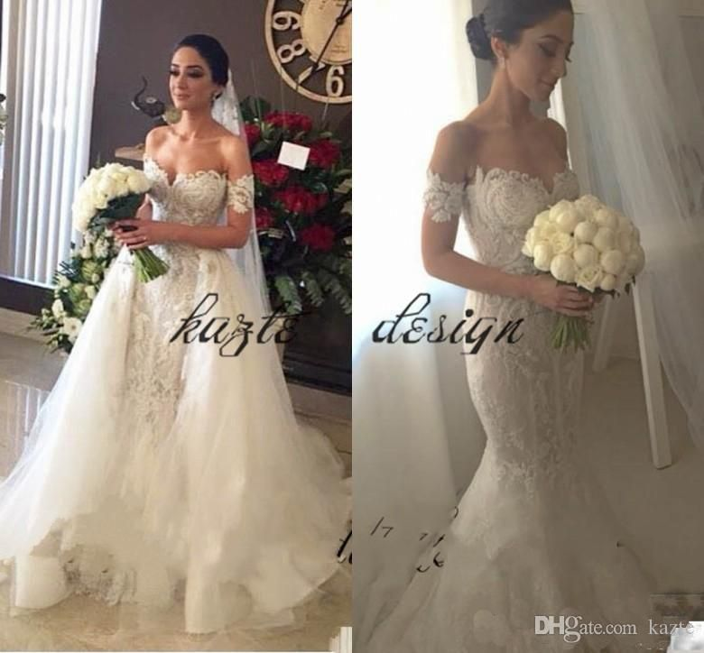fa8c7989c691 Steven Khalil Off the Shoulder Mermaid Wedding Dresses With Detachable  Train Appliques Lace Chapel Bridal Gowns Arabic Wedding Gowns Mermaid  Wedding Dress ...