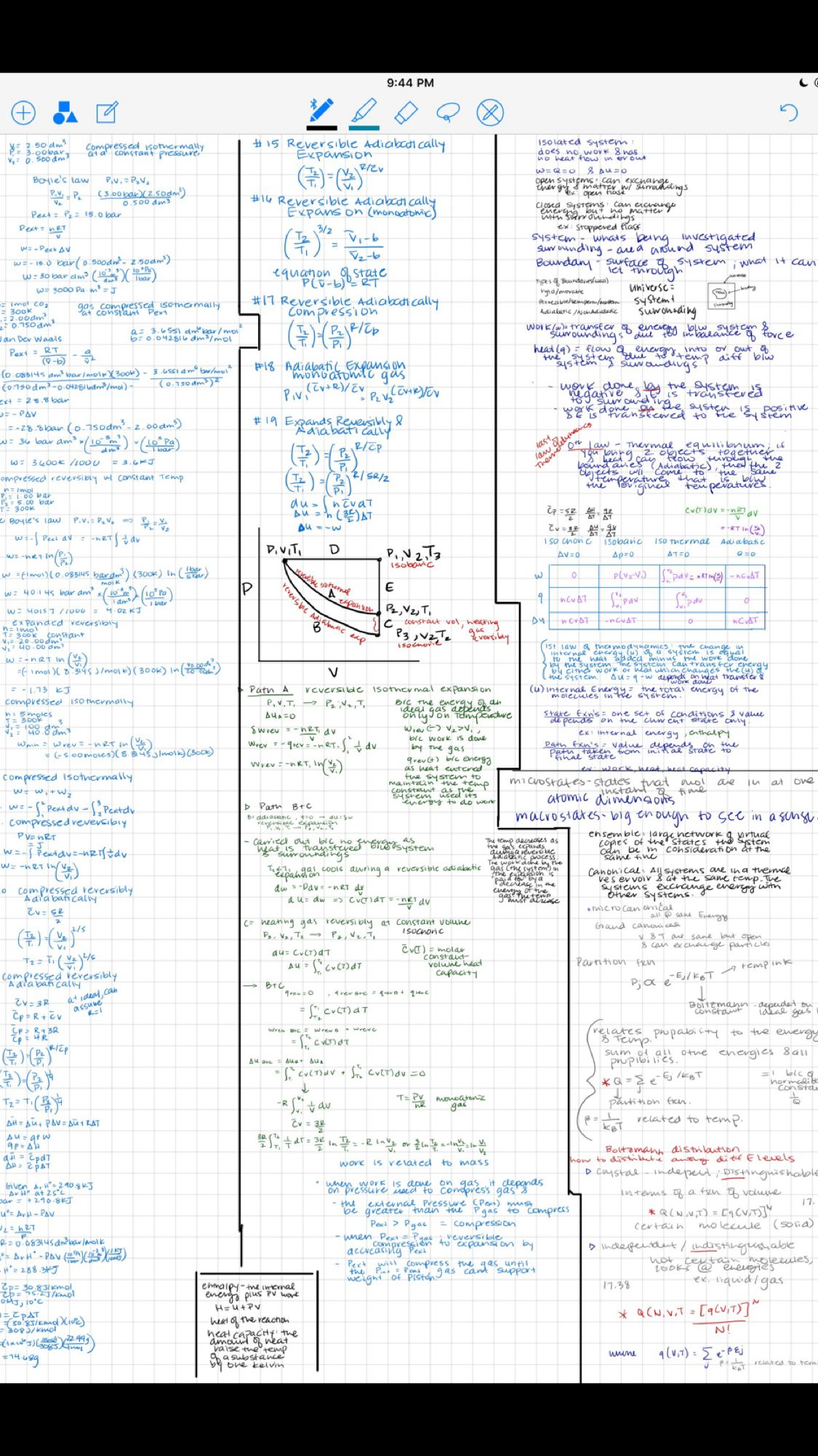 Pchem 1st Law Of Thermodynamics Notes Engineering Notes Physics Notes Chemistry Notes