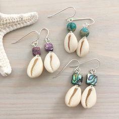 Cowrie Shell Earrings – Beach Boho – Abalone Shell Earrings – Sea Shell Earrings – Seashell Jewelry – Beach Stone Earrings – Ocean Jewelry