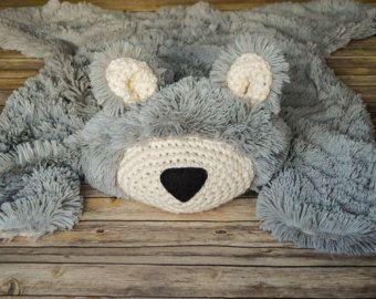 Bear Rug Faux Bear Rug woodland nursery Baby by ClaraLoo
