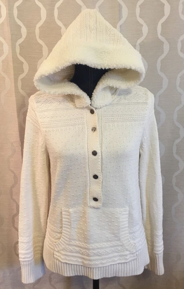 Christopher & Banks Women's Size Medium M Cream Hooded Sweater ...