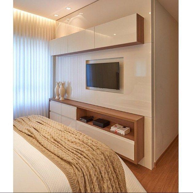 Painel de tv para o quarto se o espa o entre a cama e for Dormitorio para quarto pequeno