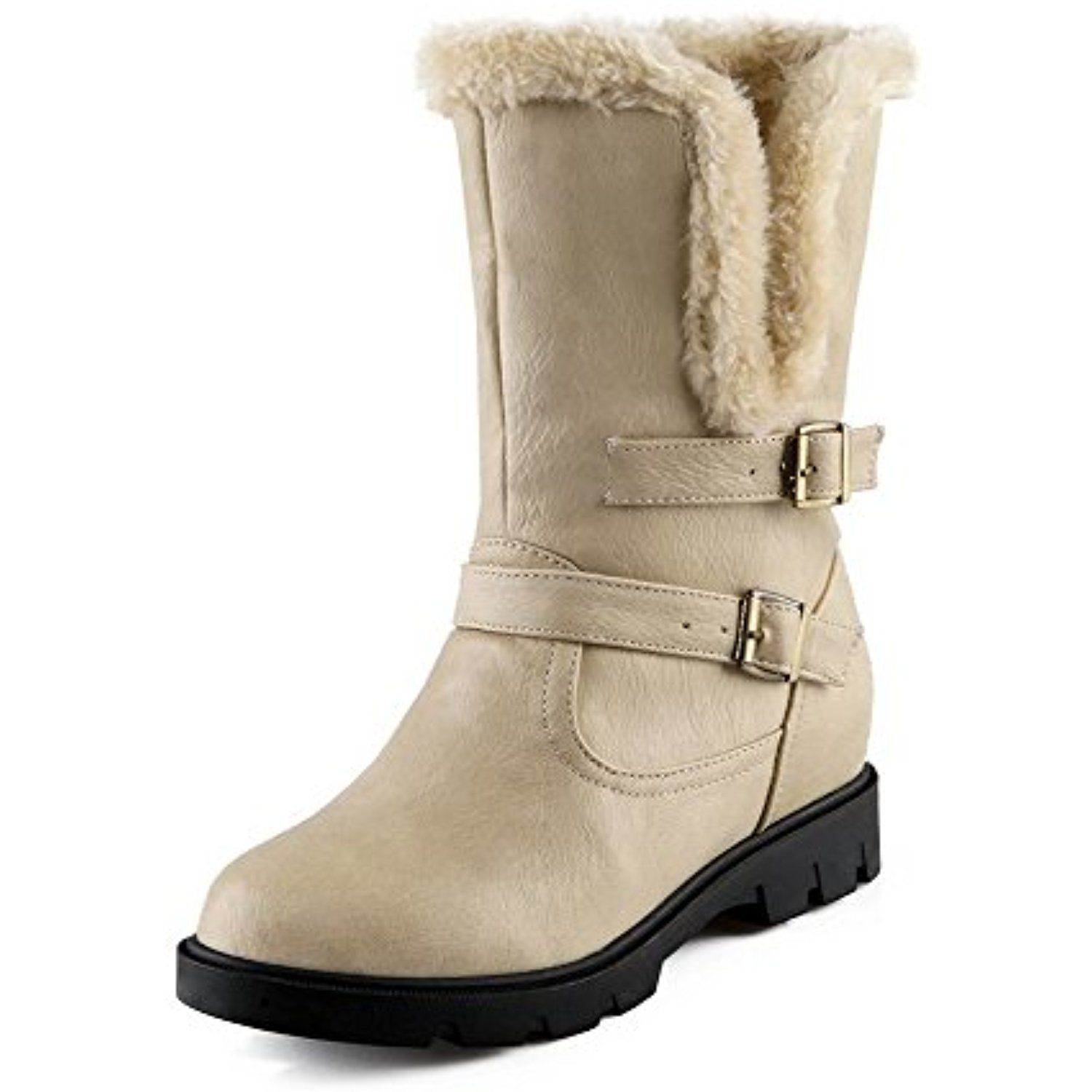 Women's Low-top Pull-on Soft Material Kitten-Heels Round Closed Toe Boots