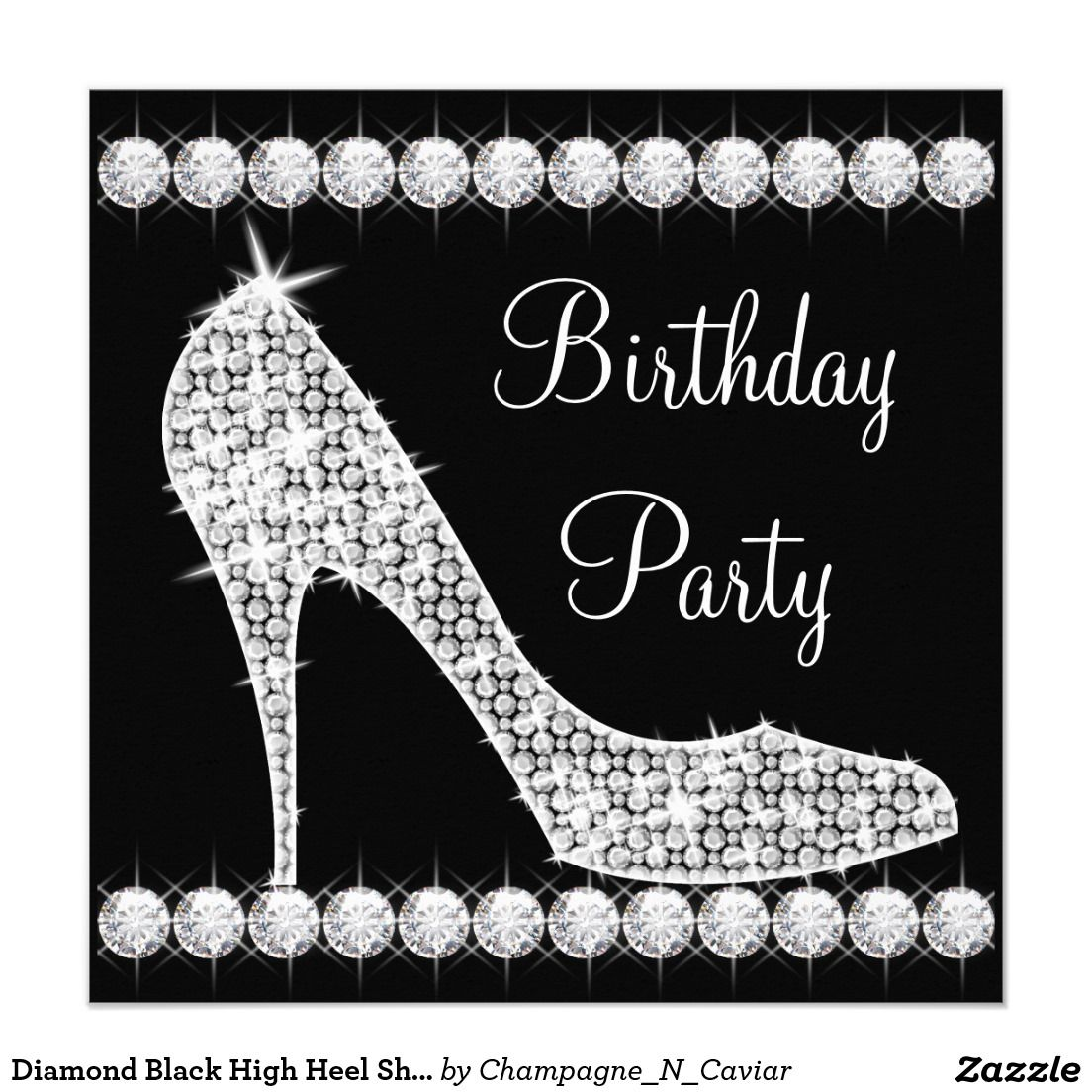 Diamond Black High Heel Shoe Birthday Party Invitation | Pinterest ...
