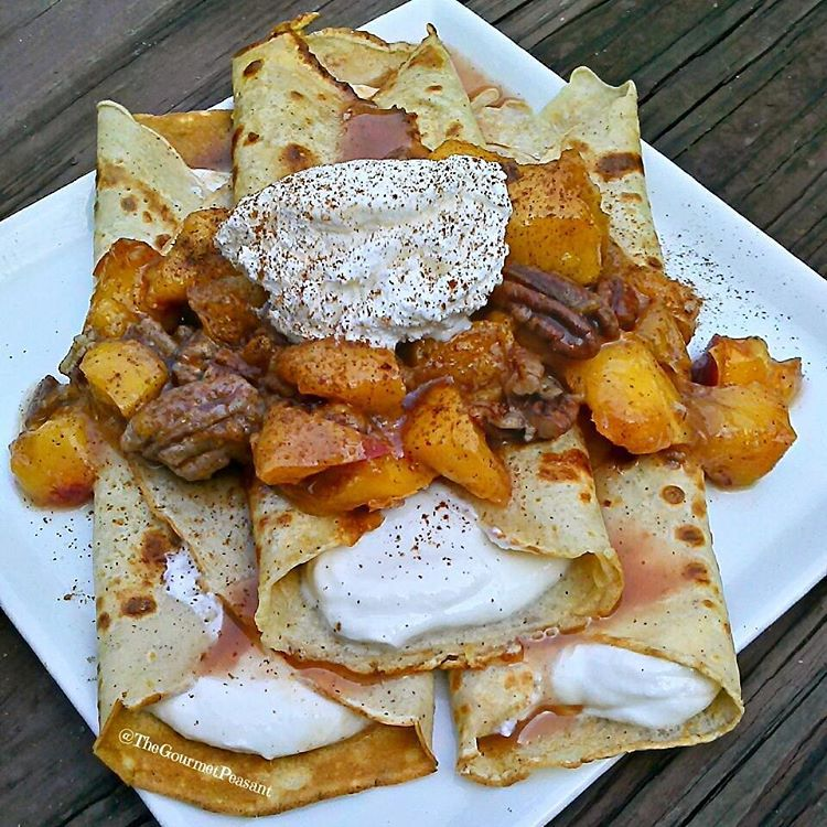 Cinnamon Peach and Pecan Crepes with Vanilla Yogurt