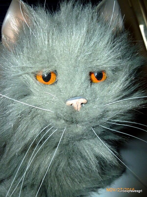 "Tiger Electronics Hasbro 2002 Gray Cat Kitty 15"" w/ Orange Eyes FurReal Friends  #FurrReal"