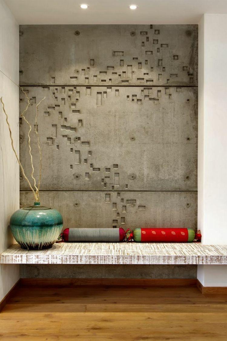 Wandgestaltung Ideen Beton Design Badezimmer Modern Akzent