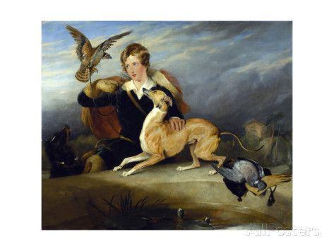Richard Cavendish with 'spot', the 6th Duke of Devonshire's Italian Greyhound, C.1828 Impressão giclée