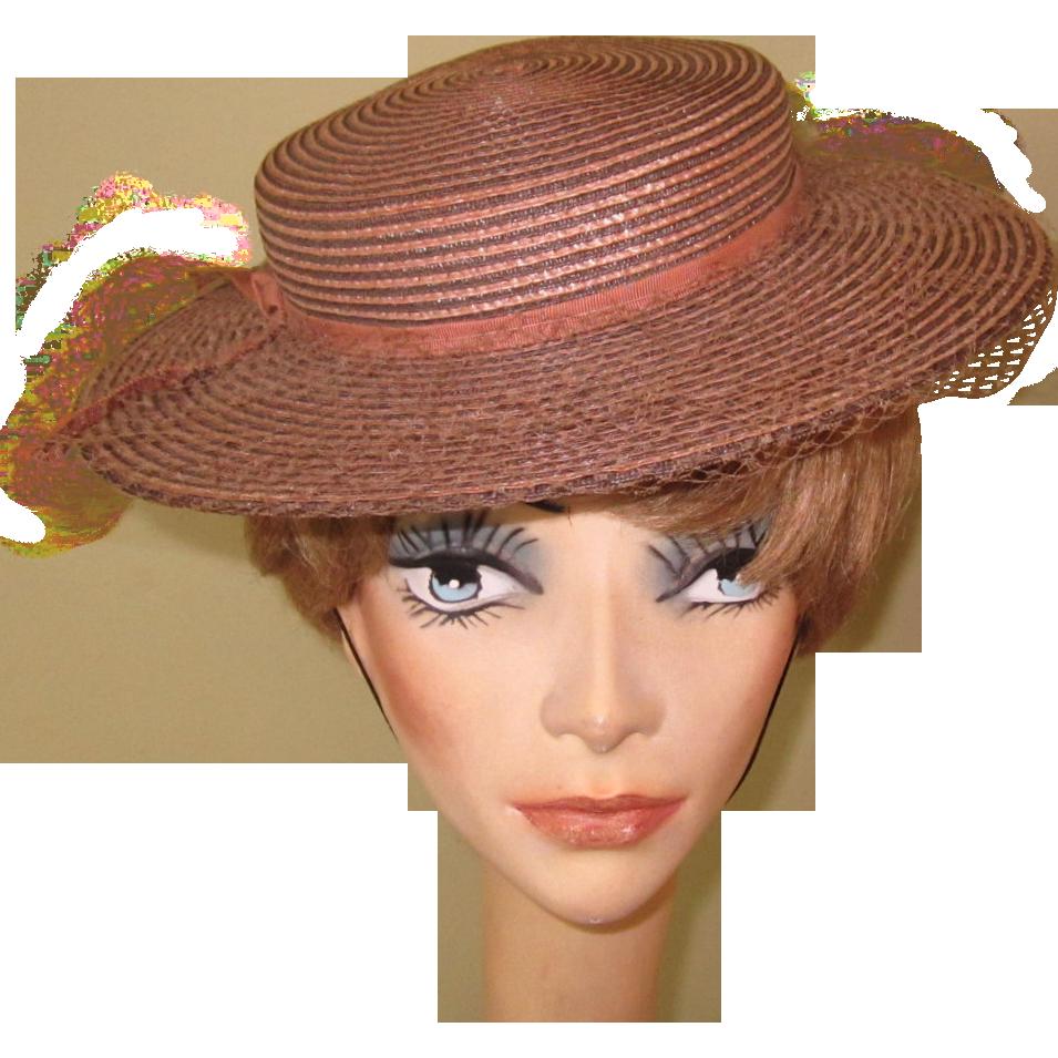 Vintage Wide Brim Straw Hat Vintage millinery Red Hat Vintage Hat Wide Brim Hat 1990s Hat Cowboy Hat Straw Hat Vintage Straw Hat