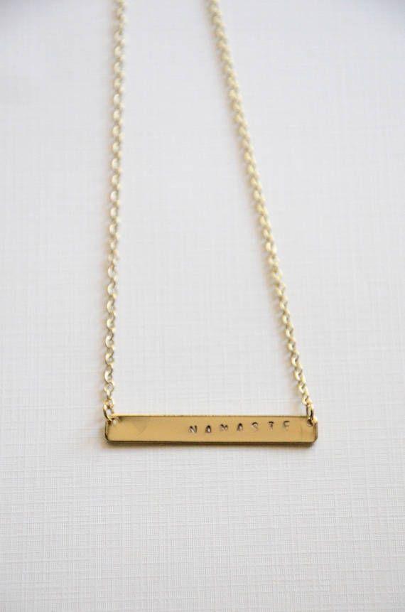 hand stamped Namaste necklace yoga jewelry handmade jewelry