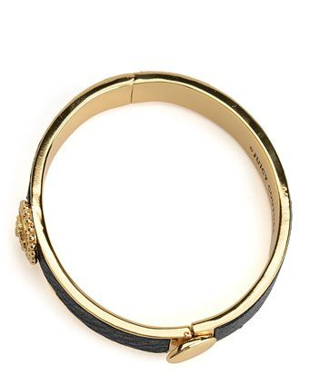 STATUS COIN LEATHER HINGED BANGLE