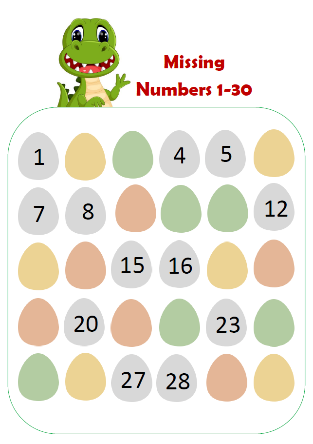 Missing Numbers 1 30 Fun Dinosaur Theme Worksheet For Kindergart Preschool Math Worksheets Number Worksheets Kindergarten Counting Worksheets For Kindergarten