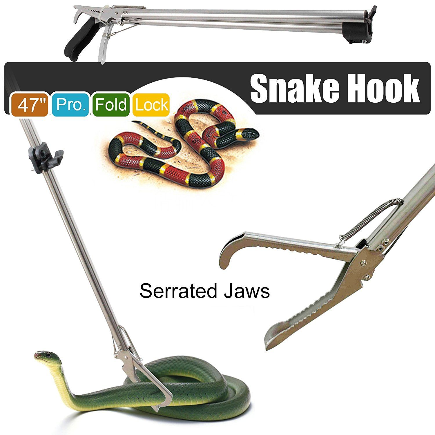 47 Inch Professional Stainless Steel Snake Tongs Reptile Catcher Stick Rattlesnake Grabber Pick-up Handling Tool with Zigzag Wide Jaw Foldable Snake Catcher snake hook