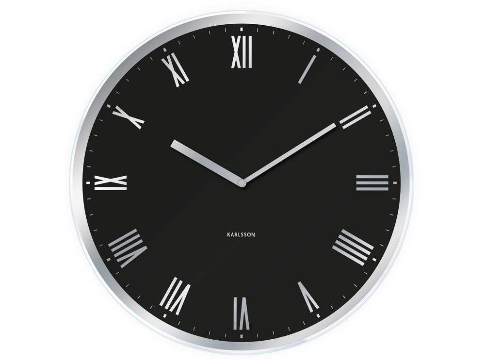 Karlsson Modern Roman Glass Wall Clock Black Amazon Co Uk Kitchen Home Black Wall Clock Wall Clock Modern Wall Clock