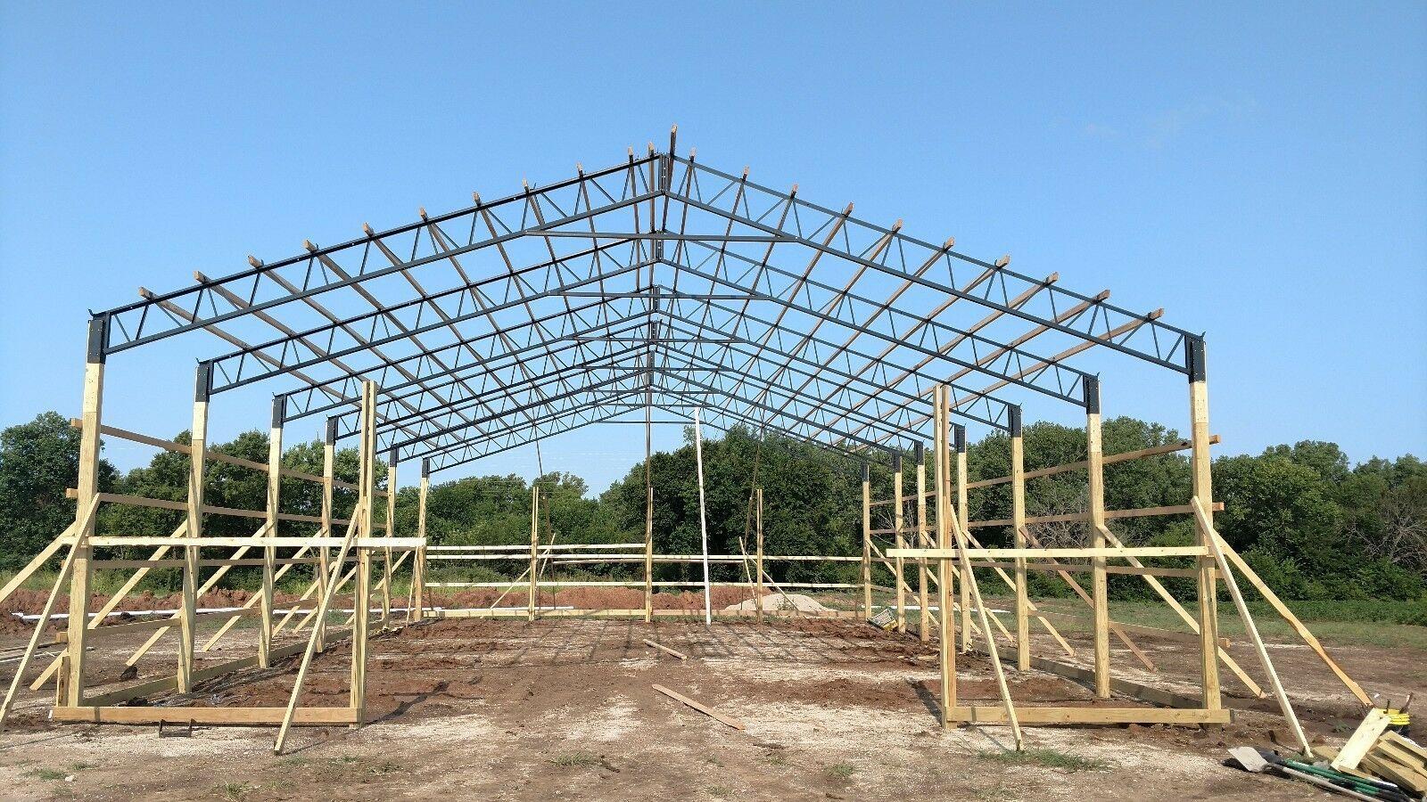 Steel Truss Pole Barn 40 Single Truss 1 To 200 Available Pole Barn Designs Pole Barn Plans Steel Trusses