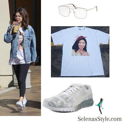 Selena Gomez style fashion clothes Selena Quintanilla t-shirt denim jacket  white sneakers trainers clear glasses February 2018 bcc91672b
