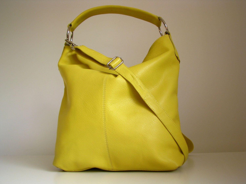 Leather Handbag, Leather Purse, Messenger Bag, yellow. $135.00, via Etsy.
