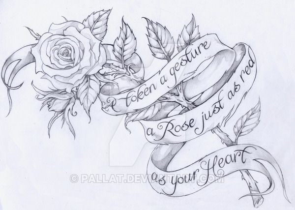 A Rose Tattoo Design With A Ribbon Wrapping Around It, Eventually To Add  Words.