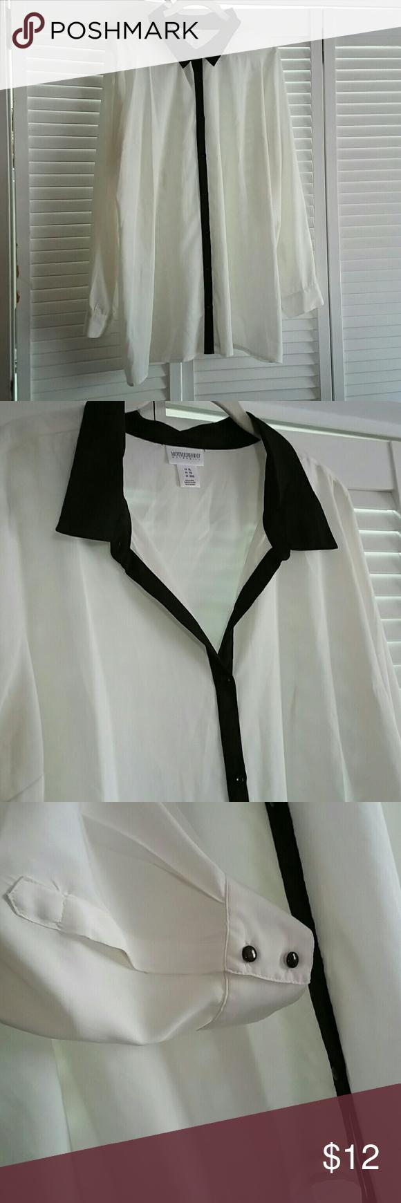 Black and white maternity blouse Motherhood Maternity, long sleeves Motherhood Maternity Tops Blouses