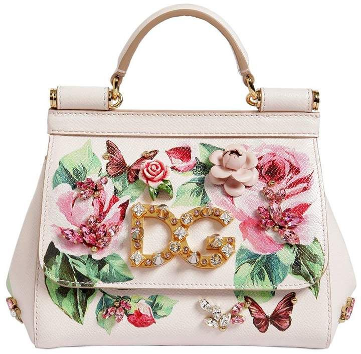 24a80ab0630c Dolce   Gabbana Small Sicily Rose Printed Leather Bag