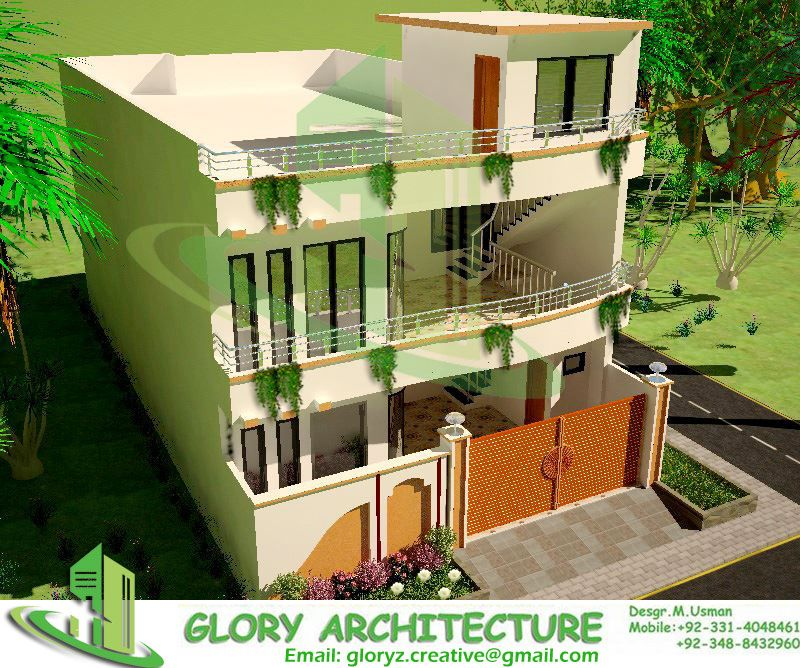 3d house side view architectural drawings structural for Balcony designs in pakistan