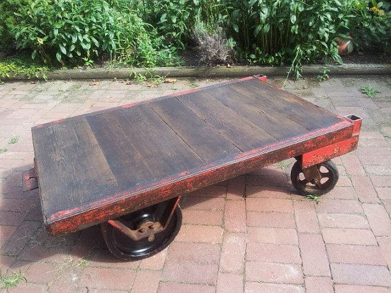 Vintage Industrial Cart Coffee table display by gypsyfishstudio