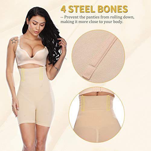 c144c519ff9e4 Vaslanda Women High Waist Shapewear Mid Thigh Slimmer Tummy Control Panties  Seamless Butt Lifter Compression Shorts Shaper
