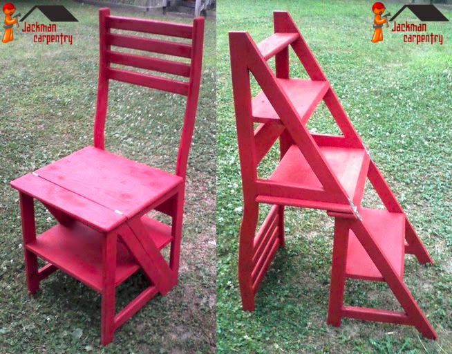 Folding franklin chair converts between a chair and stepping