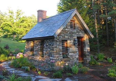 a small stone cottage modeled after thoreau s cabin on walden pond rh pinterest com stone design cottage 230 stone cottage house designs