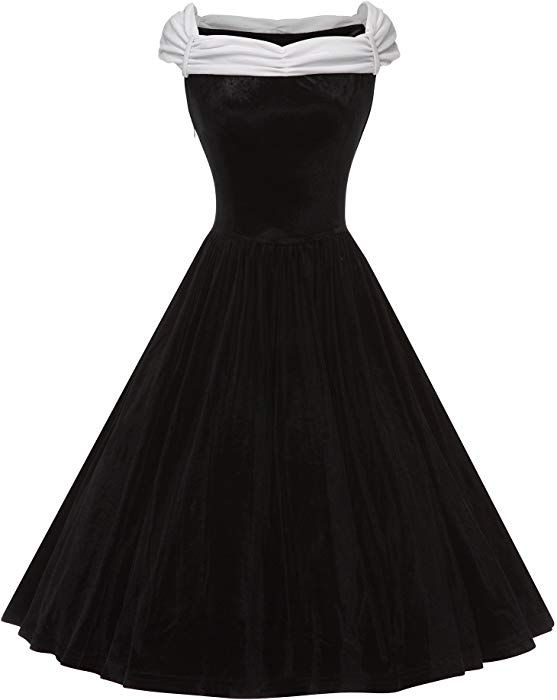 4e2e85e56c4 GownTown Women 1950s Dresses Velvet Splicing Swing Dress at Amazon Women s  Clothing store