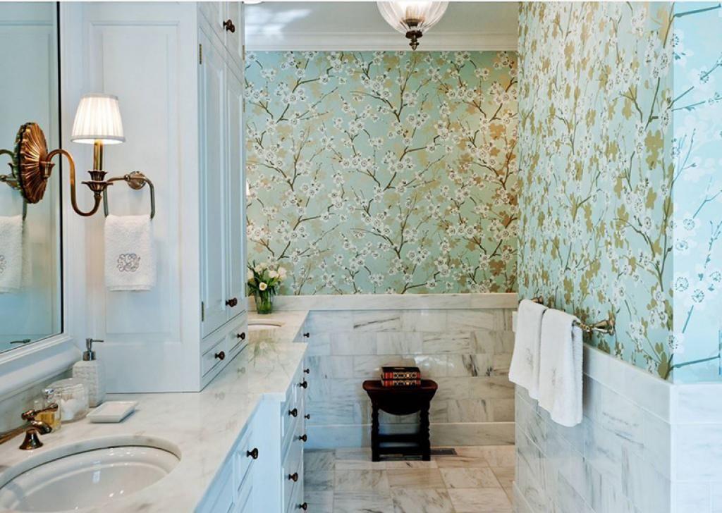 cyan buli light bathroom wallpaper ideas with sakura flowers pattern home inspiring