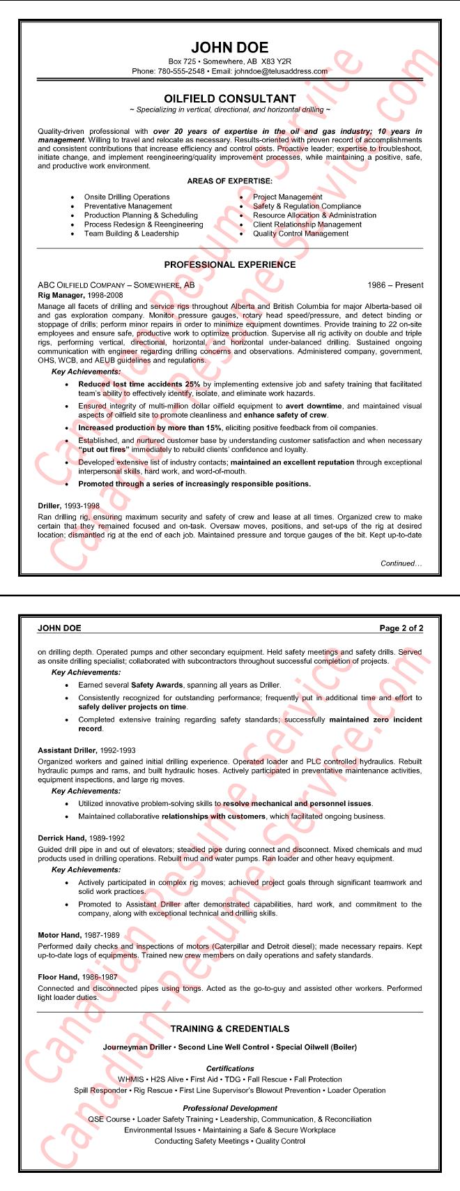 Oilfield Consultant Resume Sample Oilfield, Resume