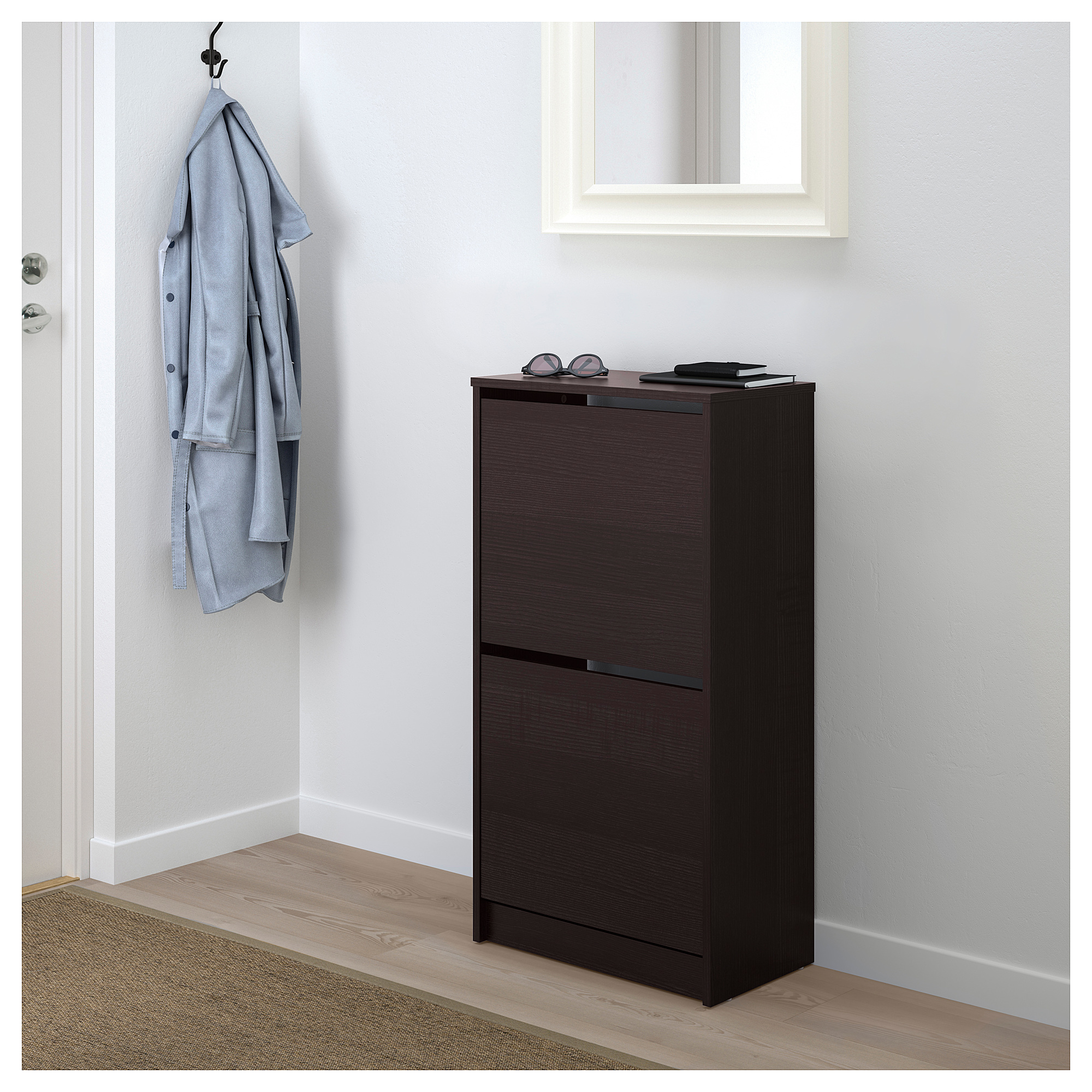 Bissa Shoe Cabinet With 2 Compartments Black Brown 19 1 4x36 5