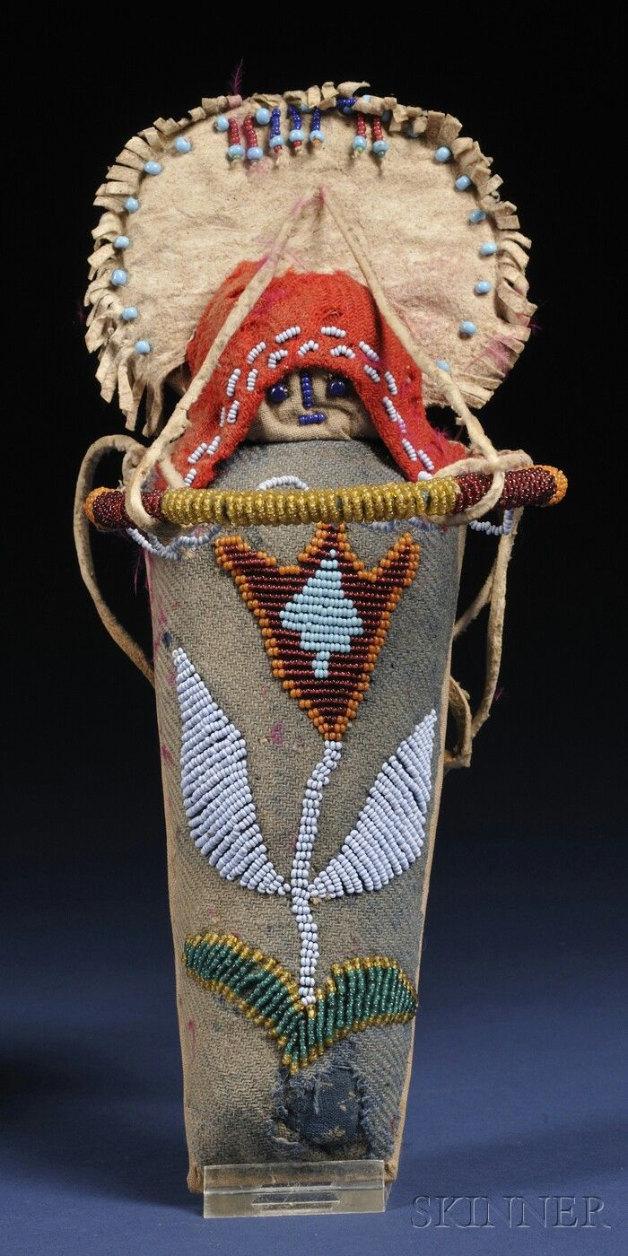 Columbia River Beaded Cloth And Hide Model Cradle Sale Number 2563b Lot Number 222 Skin Native American Dolls Native American Beadwork American Indian Art