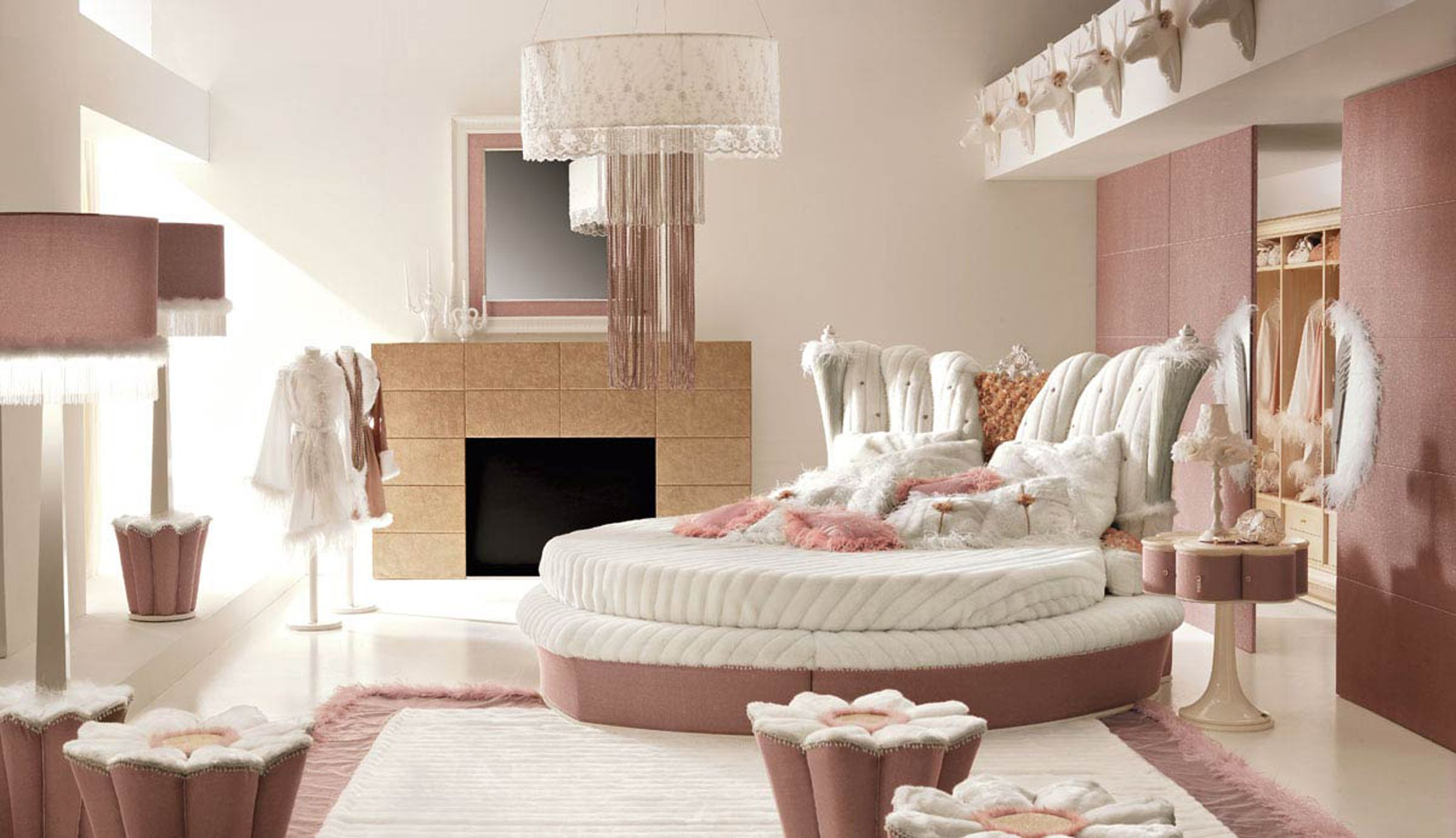 Beautiful bedroom in pink with a granite fireplace   #granite #decor #home #interior #naturalstone